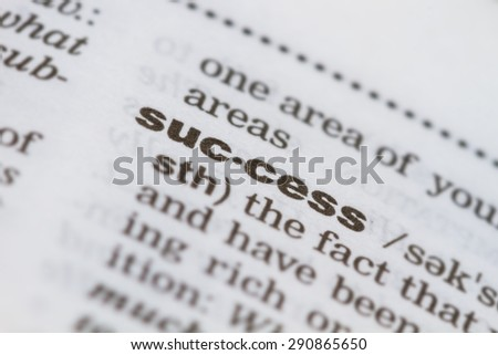 closeup word success in dictionary, soft focus, - stock photo