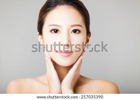 closeup young  beautiful woman face  - stock photo
