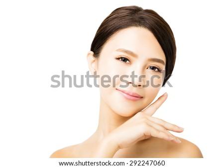 closeup young beauty woman face - stock photo