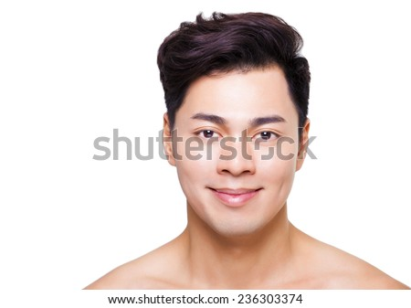 closeup young  man face isolated on white - stock photo