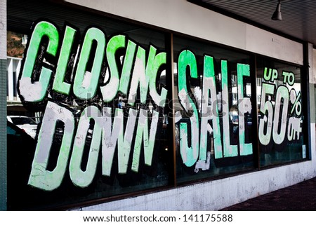 Closing Down Sign - stock photo