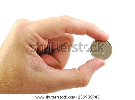 Closup of a hand holding a yuan coin isolated on white background.