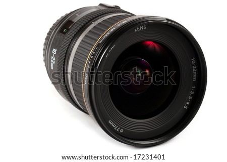 closup of a lens isolated on white - stock photo