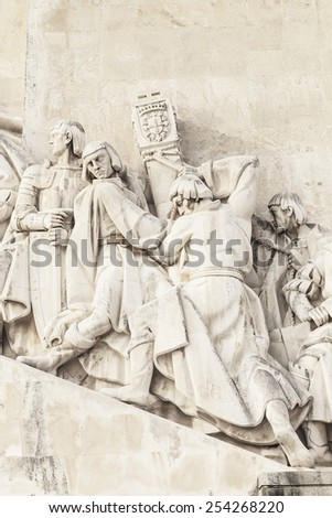 Closup of a Monument to the Discoveries (The Padrao dos Descobrimentos) located in the Belem district of Lisbon, Portugal - stock photo
