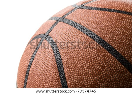 Closup of basketball isolated on white background.