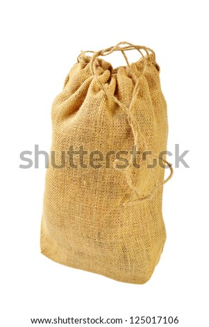 Cloth bag with drawstrings. Isolated on white background
