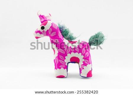 Cloth Doll Giraffe, Animal doll. - stock photo
