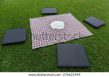 cloth for a pic nic in spring time - stock photo
