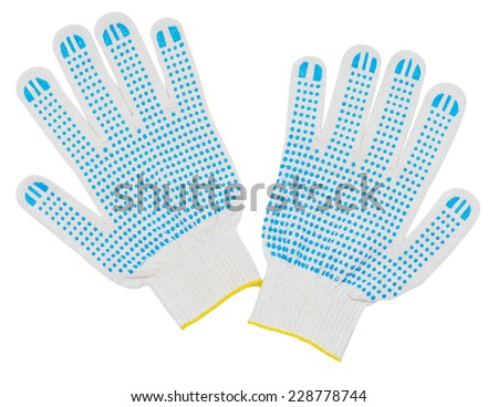 Cloth gloves isolated on white background - stock photo