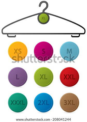Cloth hanger with changeable buttons showing sizes - stock photo