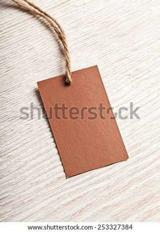 Cloth label tag blank brown mockup