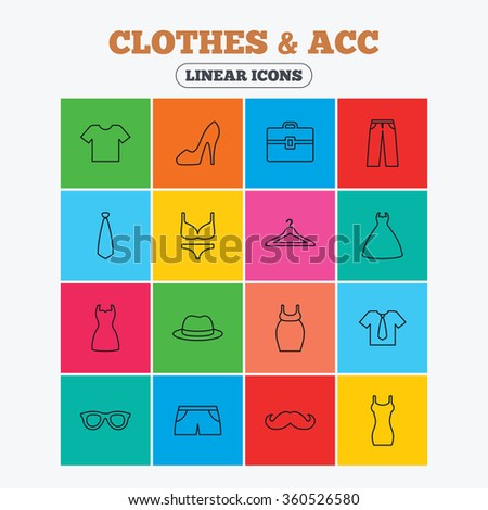 Clothes and accessories icons. Shirt with tie, pants and woman dress symbols. Hat, hanger and glasses thin outline signs. Underwear and maternity clothes. Linear icons in colored squares. - stock photo