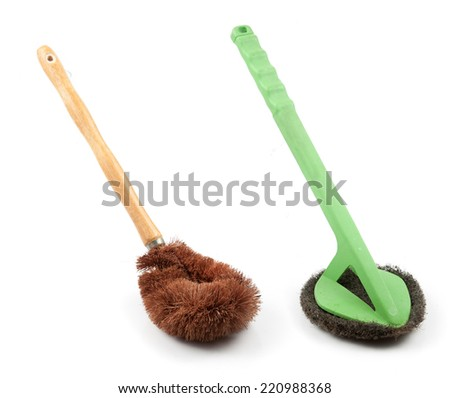 clothes cleaning brush and Scrubber on isolated white background - stock photo