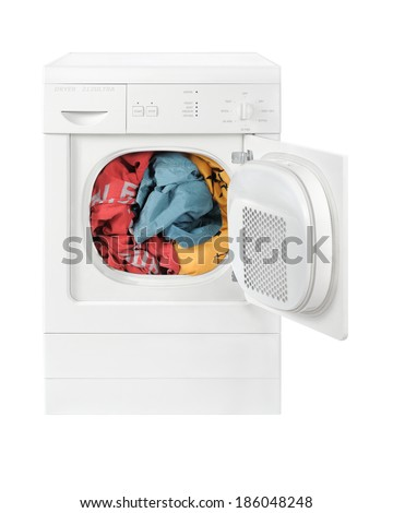 Clothes drying tumbler dryer - stock photo