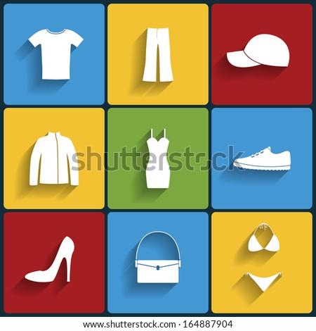 Clothes flat icons set. Raster version - stock photo