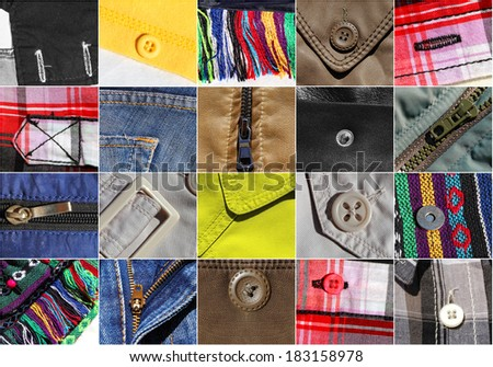 Clothes fragments samples with accessories collection ( collage ) - stock photo