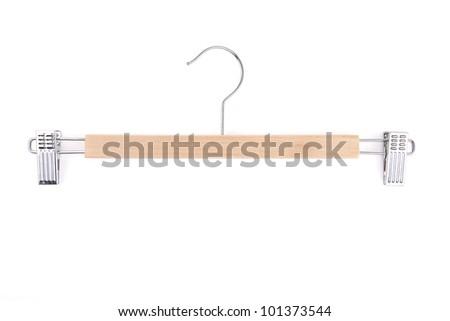 Clothes hange - isolated on white background - stock photo