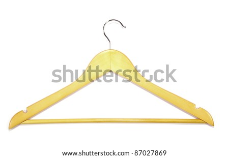 Clothes-hanger for trousers isolated on white. - stock photo