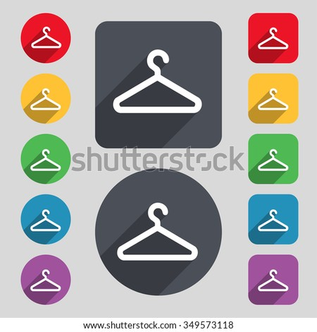 clothes hanger icon sign. A set of 12 colored buttons and a long shadow. Flat design. illustration - stock photo