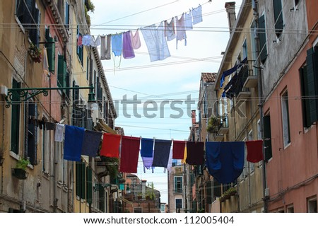 Clothes hanging to dry on a clothes-line - stock photo