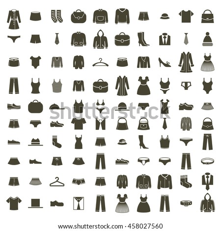 Clothes icon set, collection of fashion signs and symbols. - stock photo