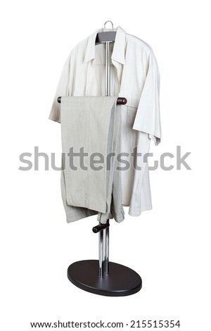 clothes on a hanger it is isolated on a white background - stock photo