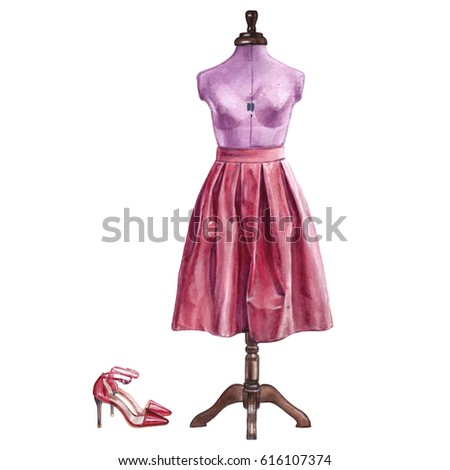 Clothes set. Blue watercolor mannequin for sewing with red skirt and red shoes on a white background
