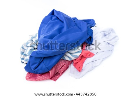 Clothes wait for clean washed on white background , housework concept - stock photo