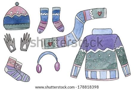 Clothes Watercolor Set - stock photo