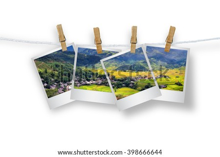 Clothespin hanging with photo Mu Cang Chai, Isolated on white with clipping path.