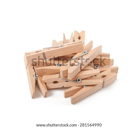 Clothespins isolated on white background - stock photo