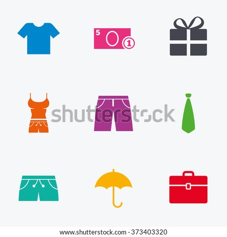Clothing, accessories icons. T-shirt, business case signs. Umbrella and gift box symbols. Flat colored graphic icons. - stock photo
