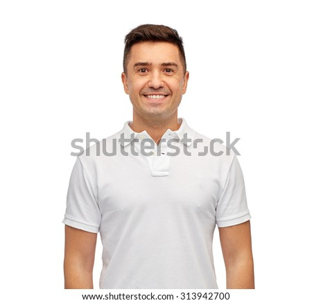 clothing, advertisement and people concept - smiling middle aged latin man in white blank polo t-shirt - stock photo