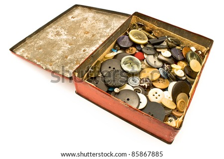 Clothing buttons collection in red tin box