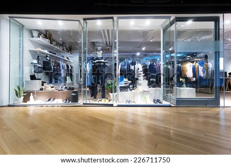 clothing fashion shop exhibition window  - stock photo