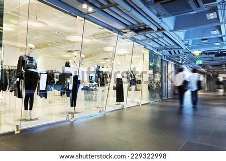clothing fashion shop exhibition window  - stock photo