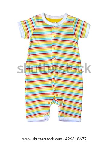 Clothing for baby boy isolated on white background, selective focus. Clipping path included.