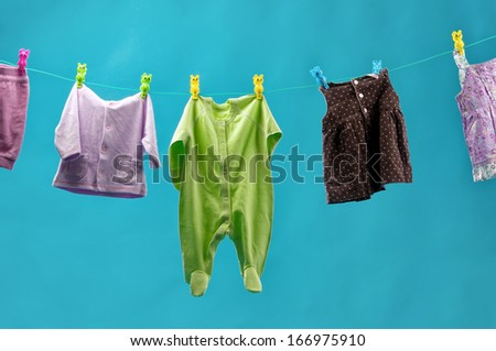 clothing for children dry on a rope.