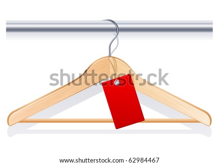 clothing hanger with  red tag - stock photo