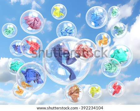 clothing in soap bubbles on sky background concept of washing - stock photo