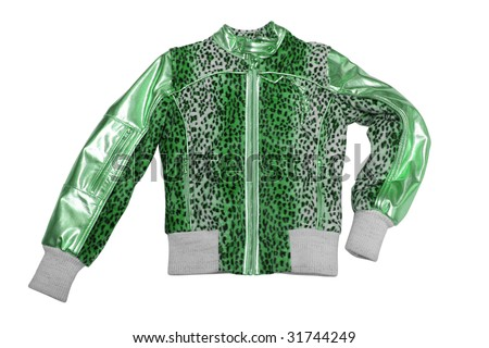 clothing. woman dress. green jacket isolated on white