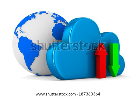 Cloud and arrows on white background. Isolated 3D image - stock photo