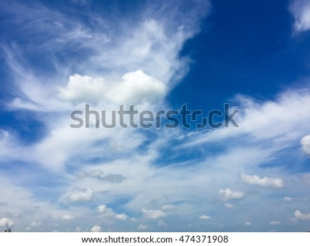 cloud and bright  blue sky   in afternoon