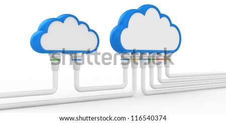 cloud and communications. 3d illustration on a white background - stock photo