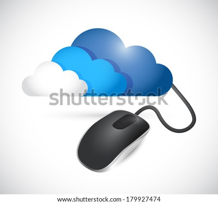 cloud and computer mouse connection illustration design over a white background