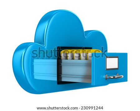 Cloud and folder on white background. Isolated 3D image - stock photo