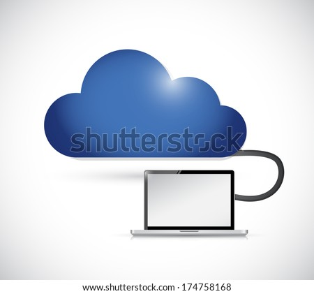 cloud and laptop illustration design over a white background