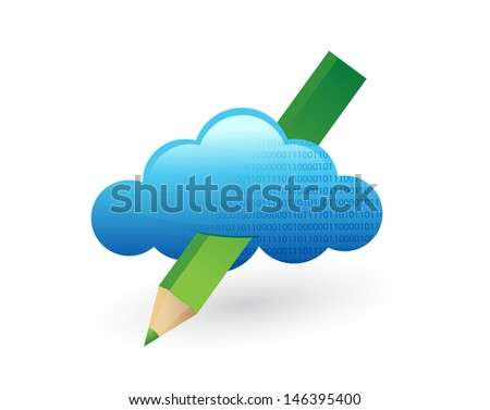 cloud and pencil. illustration design over a white background - stock photo