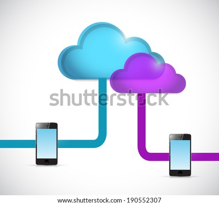 cloud and phone network illustration design over a white background