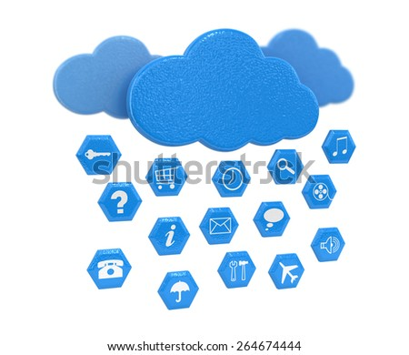 Cloud and pictograms - stock photo